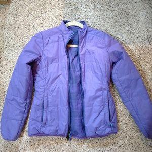 Reversible purple/plaid mountain hardware puffy